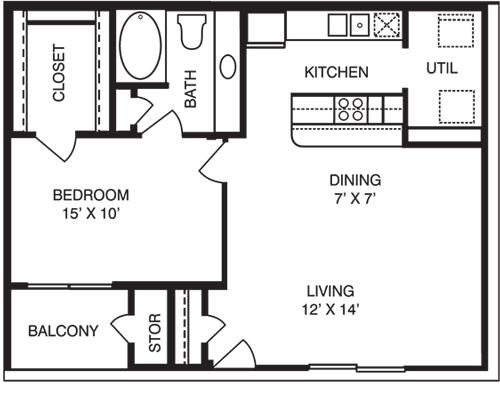 1 Bedroom 1 Bathroom Apartment for rent at La Costa Villas in Dallas, TX
