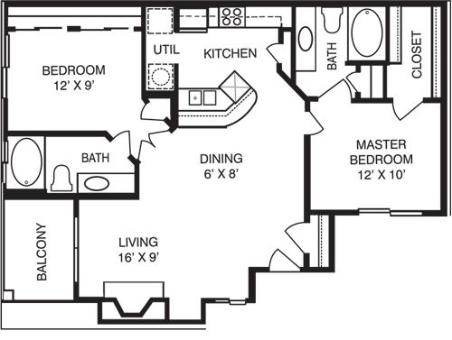 2 Bedrooms 2 Bathrooms Apartment for rent at La Costa Villas in Dallas, TX