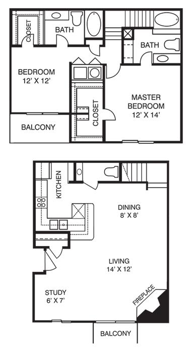 2 Bedrooms 3 Bathrooms Apartment for rent at La Costa Villas in Dallas, TX
