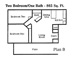 2 Bedrooms 1 Bathroom Apartment for rent at Monterey Villas in Highland, CA