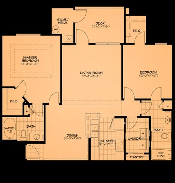 2 Bedrooms 1 Bathroom Apartment for rent at Cliff Creek Apartments in Fayetteville, NC