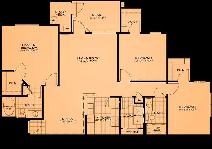 3 Bedrooms 1 Bathroom Apartment for rent at Cliff Creek Apartments in Fayetteville, NC