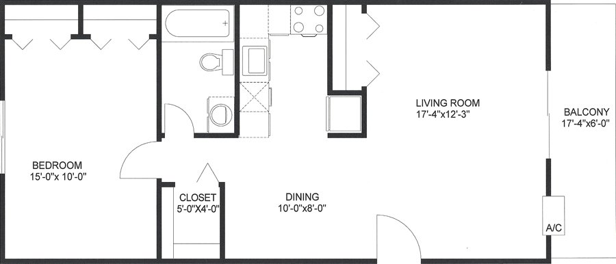 1 Bedroom 1 Bathroom Apartment for rent at Candlewyck Apartments in Utica, NY