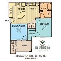 1 Bedroom 1 Bathroom Apartment for rent at La Palmilla in Edinburg, TX