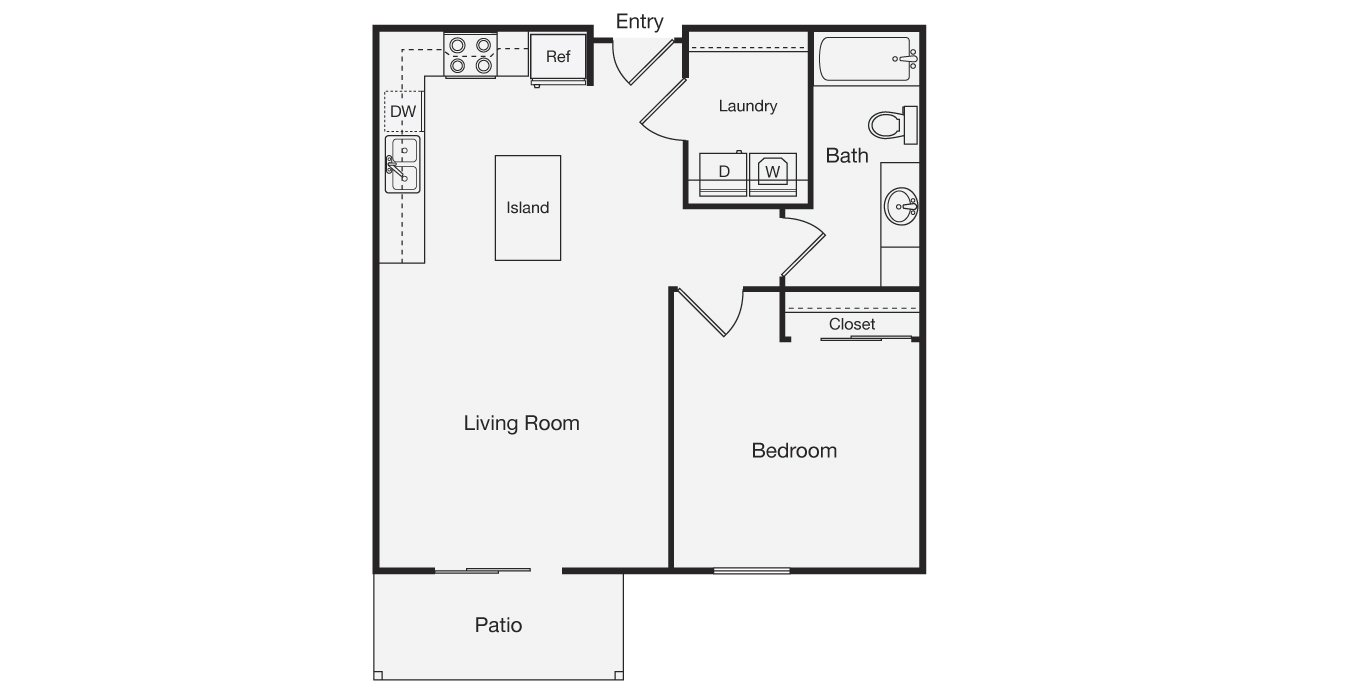 1 Bedroom 1 Bathroom Apartment for rent at Jefferson Creek in Dickinson, ND