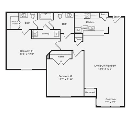 1 Bedroom 1 Bathroom Apartment for rent at Lakeside Gardens in Durham, NC