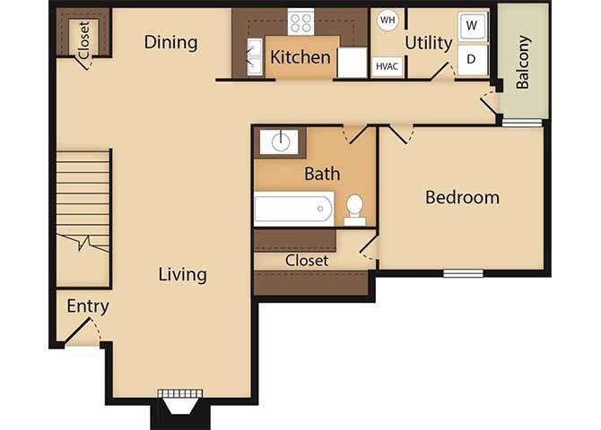 1 Bedroom 1 Bathroom Apartment for rent at Ridgeland Place Apartment Homes in Ridgeland, MS