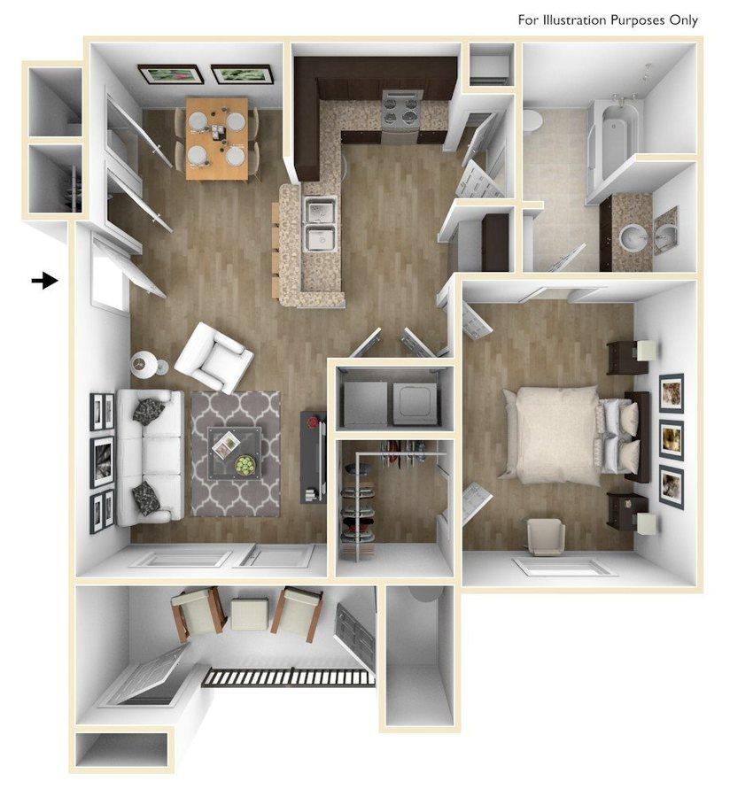 1 Bedroom 1 Bathroom Apartment for rent at Champions Gate Apartments in San Antonio, TX