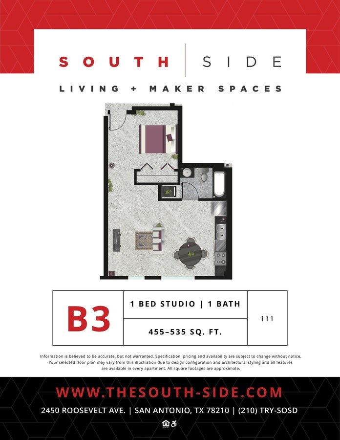 Studio 1 Bathroom Apartment for rent at South Side Living + Maker Spaces in San Antonio, TX