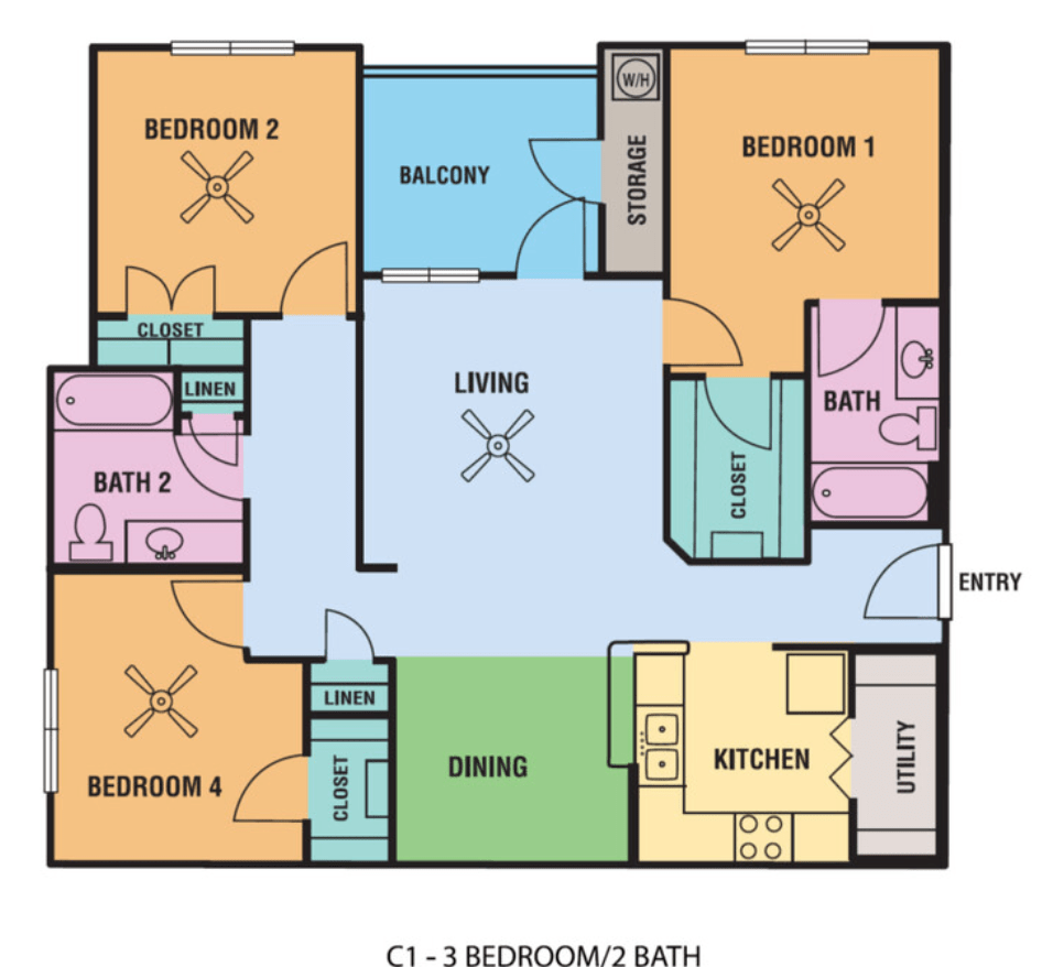 3 Bedrooms 2 Bathrooms Apartment for rent at Alsbury Farms in San Antonio, TX