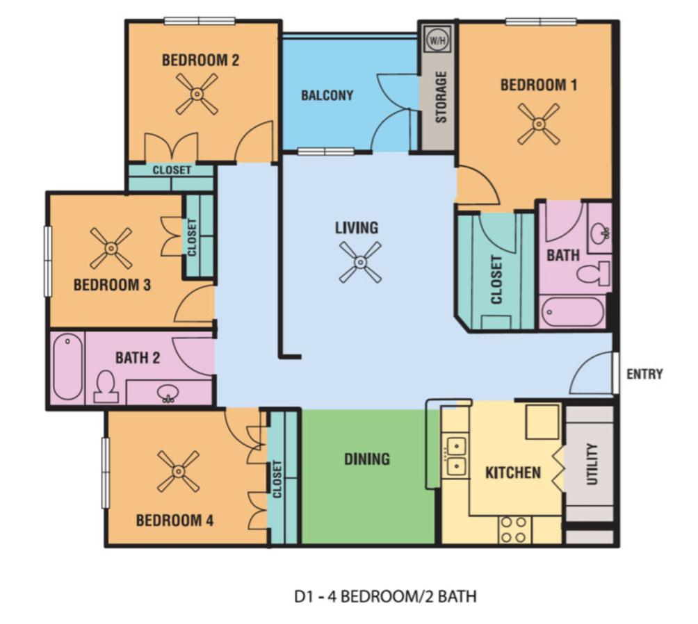 4 Bedrooms 2 Bathrooms Apartment for rent at Alsbury Farms in San Antonio, TX