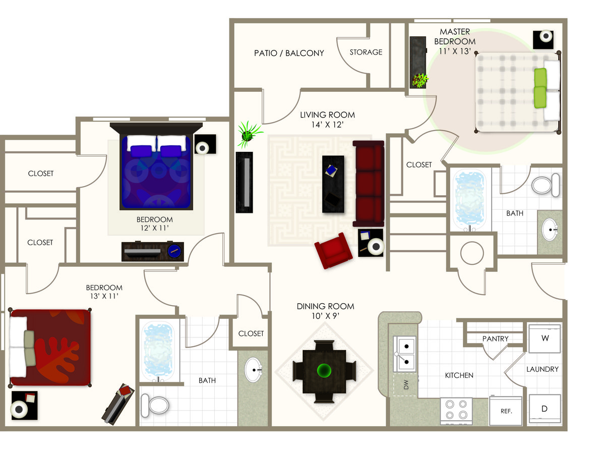 3 Bedrooms 2 Bathrooms Apartment for rent at Summerwood On Towne Line in Indianapolis, IN