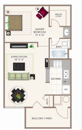 Studio 1 Bathroom Apartment for rent at Fishermans Village in Indianapolis, IN