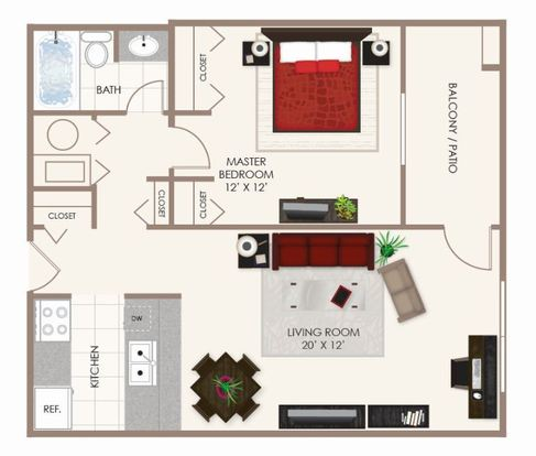 1 Bedroom 1 Bathroom Apartment for rent at Fishermans Village in Indianapolis, IN