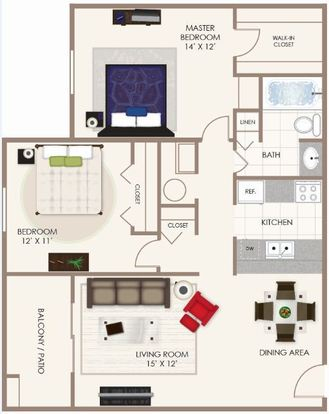 2 Bedrooms 1 Bathroom Apartment for rent at Fishermans Village in Indianapolis, IN