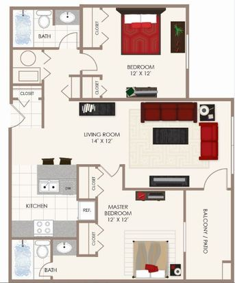 2 Bedrooms 2 Bathrooms Apartment for rent at Fishermans Village in Indianapolis, IN