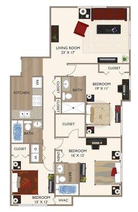 3 Bedrooms 3 Bathrooms Apartment for rent at Grandin House Apartments in Cincinnati, OH