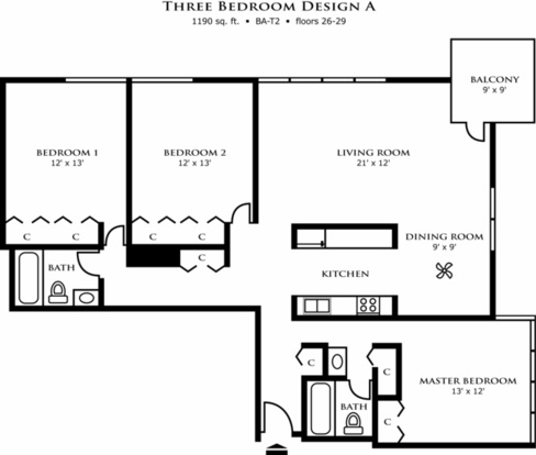3 Bedrooms 2 Bathrooms Apartment for rent at Riley Towers in Indianapolis, IN