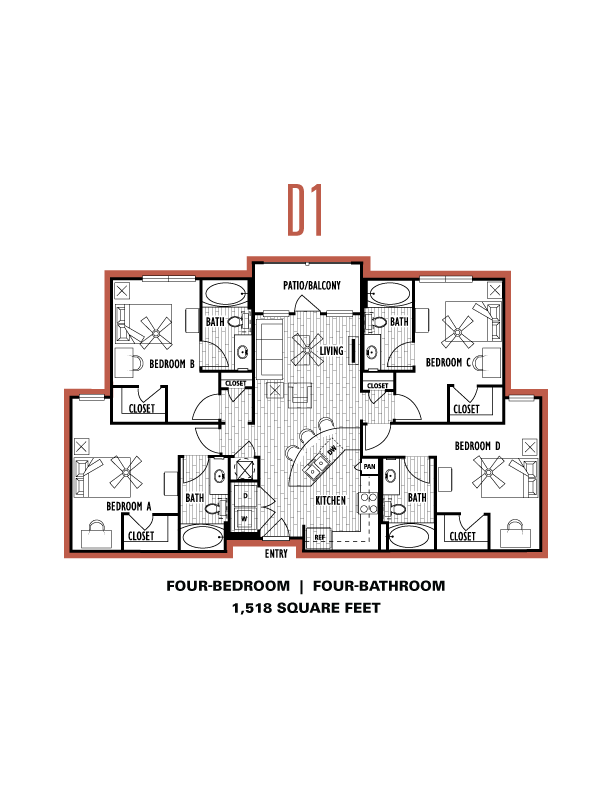 4 Bedrooms 4+ Bathrooms Apartment for rent at Domain At Columbia in Columbia, MO