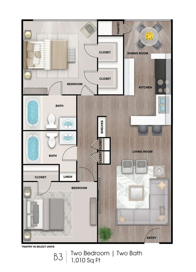 2 Bedrooms 2 Bathrooms Apartment for rent at Heights At 4300 Apartments in Houston, TX