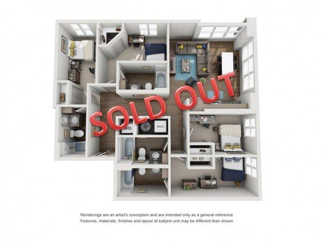 4 Bedrooms 4+ Bathrooms Apartment for rent at Six11 in Ann Arbor, MI