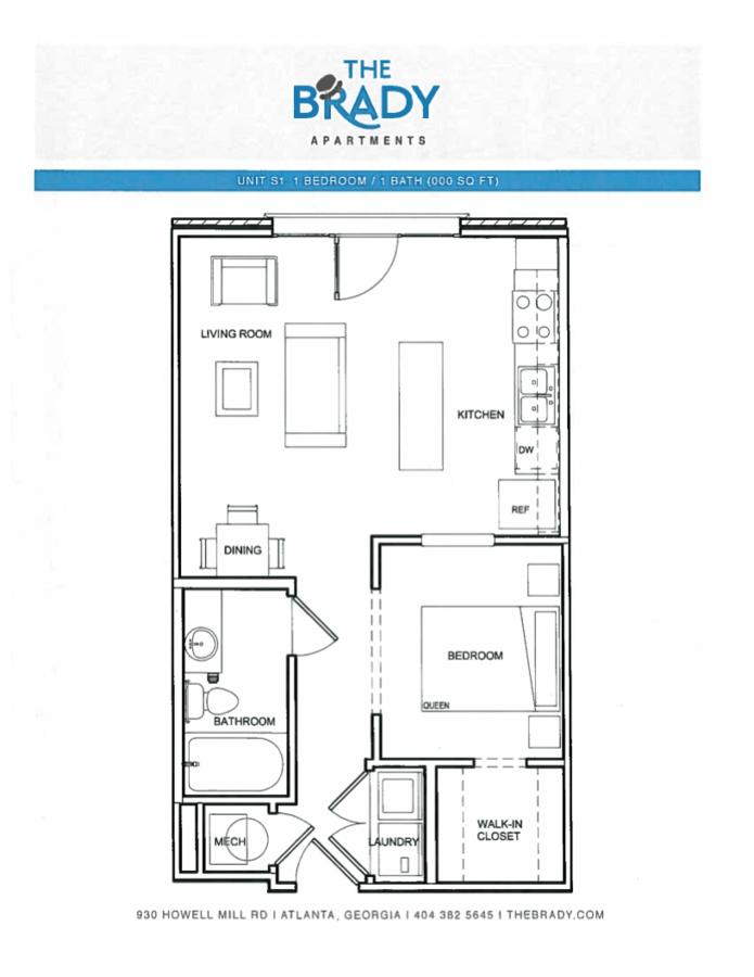 Studio 1 Bathroom Apartment for rent at The Brady in Atlanta, GA