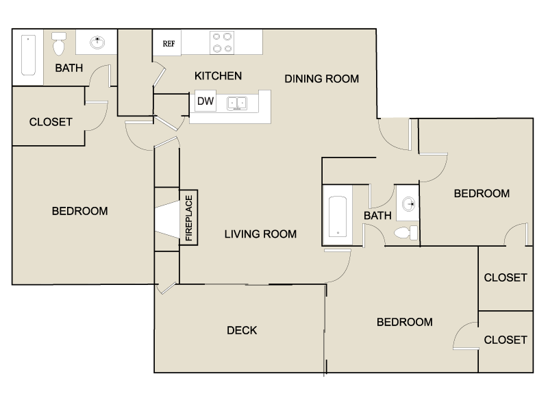 3 Bedrooms 2 Bathrooms Apartment for rent at The Kelston in Charlotte, NC