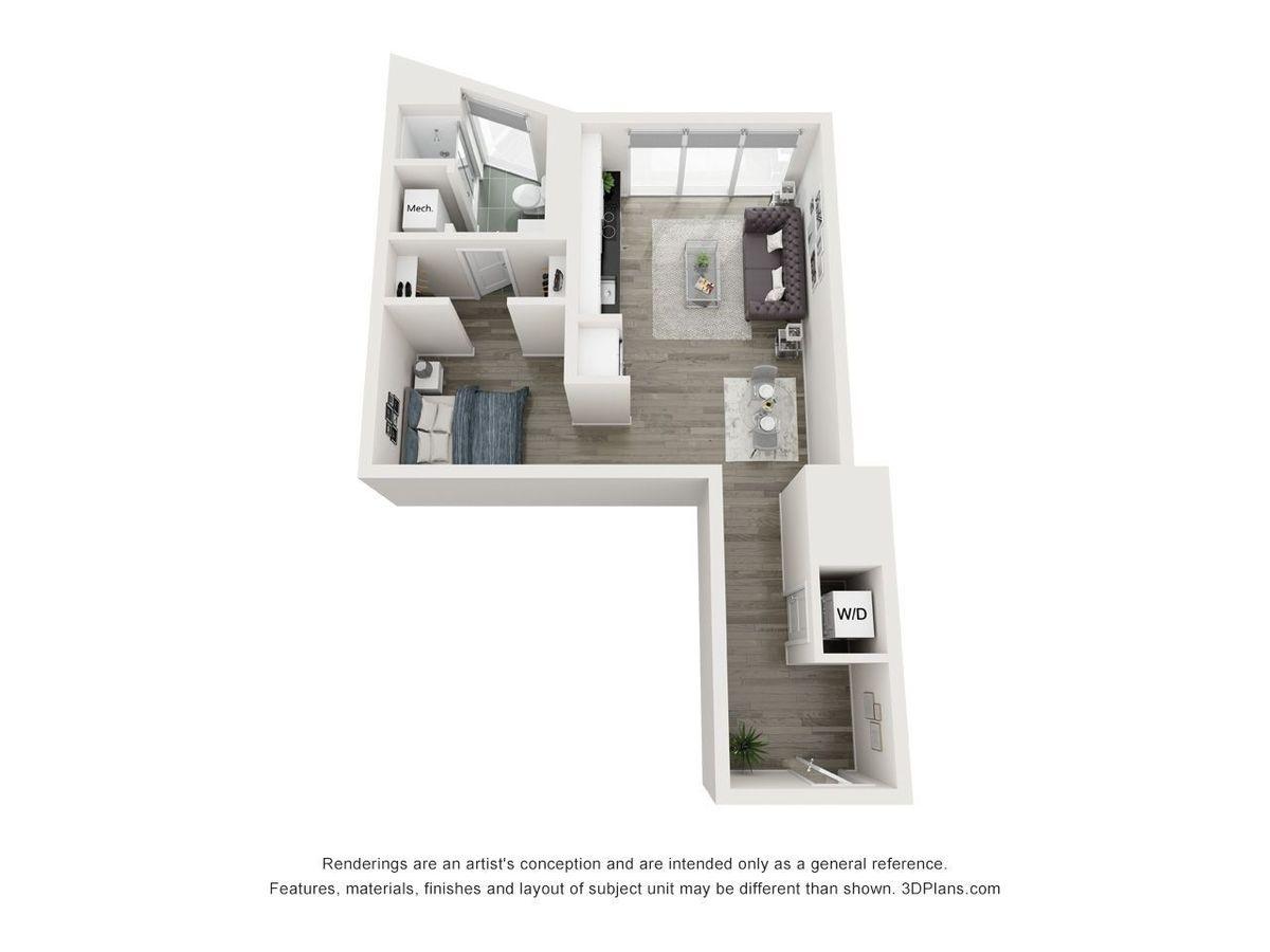 Studio 1 Bathroom Apartment for rent at Yoo On The Park in Atlanta, GA