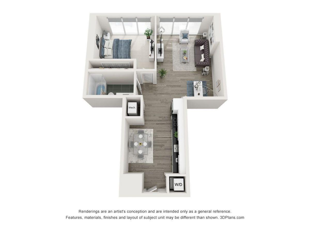 1 Bedroom 1 Bathroom Apartment for rent at Yoo On The Park in Atlanta, GA