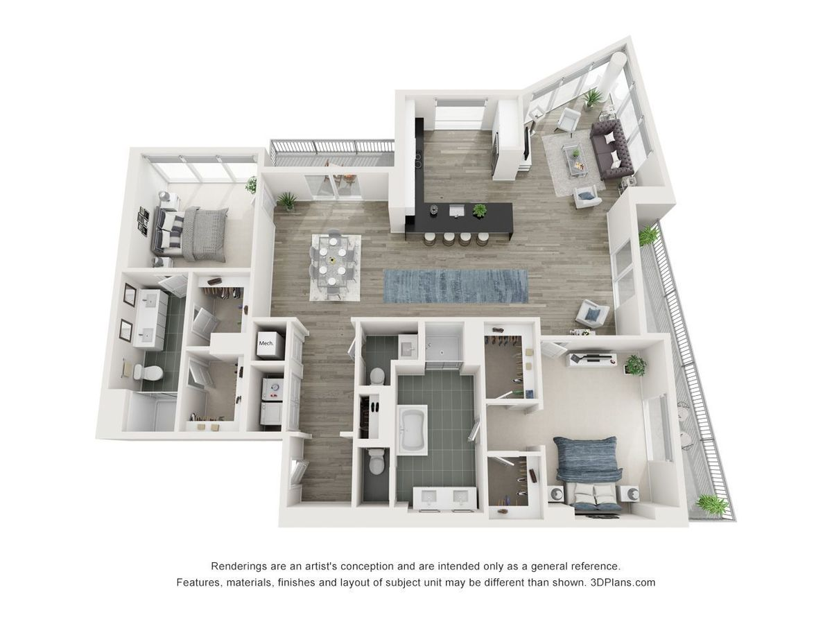 2 Bedrooms 2 Bathrooms Apartment for rent at Yoo On The Park in Atlanta, GA