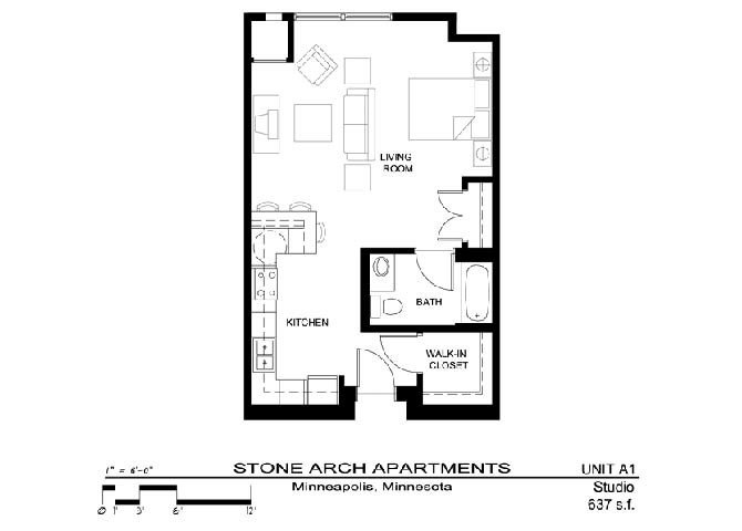 Studio 1 Bathroom Apartment for rent at Stone Arch in Minneapolis, MN