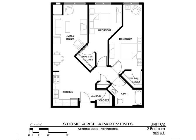 2 Bedrooms 1 Bathroom Apartment for rent at Stone Arch in Minneapolis, MN