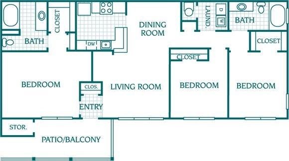 3 Bedrooms 2 Bathrooms Apartment for rent at The Columns At Oakwood in Oakwood, GA
