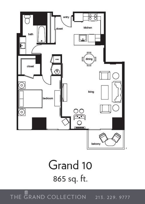 1 Bedroom 1 Bathroom Apartment for rent at 255 Grand in Los Angeles, CA