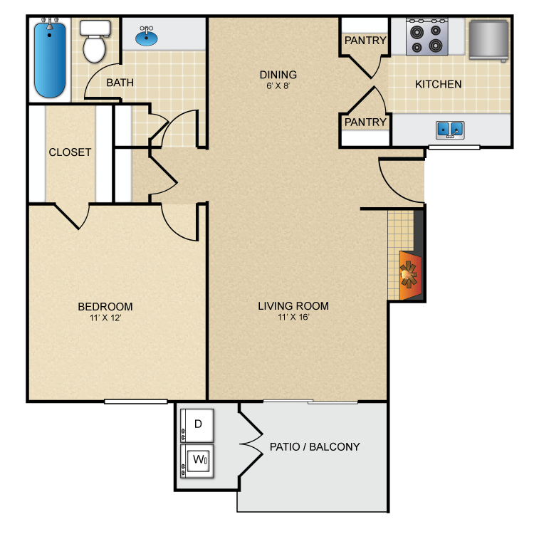 1 Bedroom 1 Bathroom Apartment for rent at Avistar In 09 in San Antonio, TX