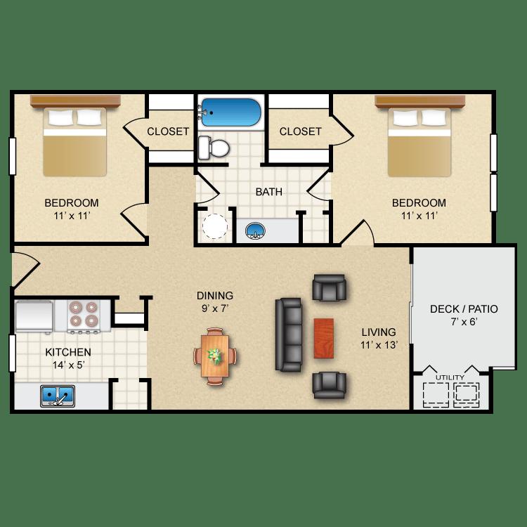 2 Bedrooms 1 Bathroom Apartment for rent at Avistar On The Hills in San Antonio, TX