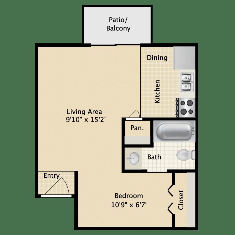 Studio 1 Bathroom Apartment for rent at Avistar At Wood Hollow in Austin, TX