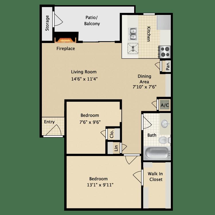 2 Bedrooms 1 Bathroom Apartment for rent at Avistar At Wood Hollow in Austin, TX