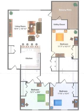 3 Bedrooms 3 Bathrooms Apartment for rent at Hidden Hills in Kalamazoo, MI