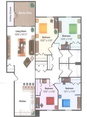 4 Bedrooms 2 Bathrooms Apartment for rent at Hidden Hills in Kalamazoo, MI