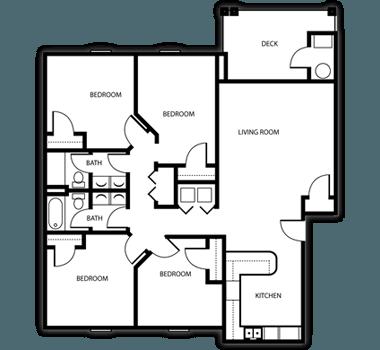 4 Bedrooms 2 Bathrooms Apartment for rent at Arboretum in Kalamazoo, MI