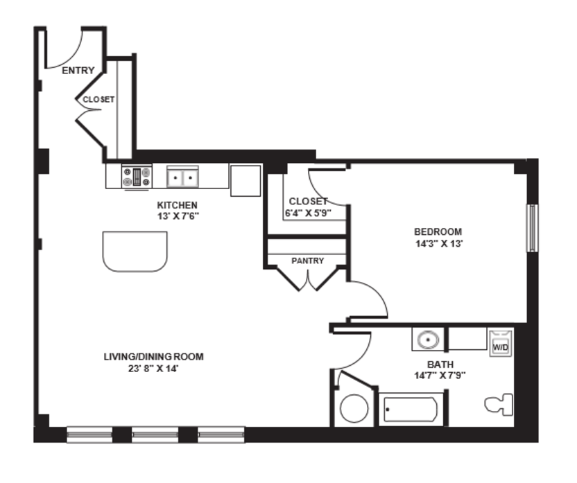 1 Bedroom 1 Bathroom Apartment for rent at The Brix At 26, A Hudson Property in Pittsburgh, PA