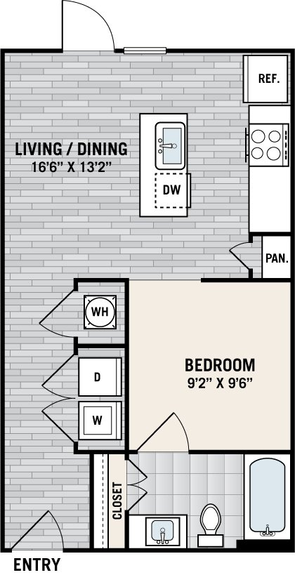 Studio 1 Bathroom Apartment for rent at West Love in Dallas, TX