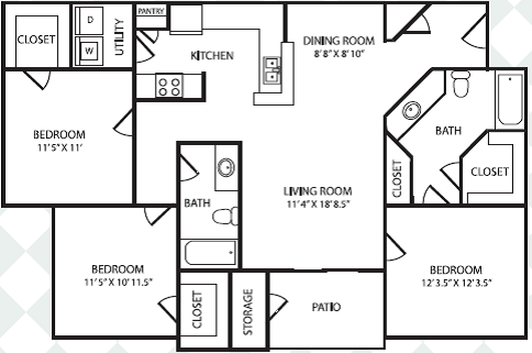 3 Bedrooms 2 Bathrooms Apartment for rent at Bel Air Keystone Ranch in Dallas, TX