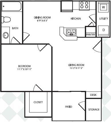 1 Bedroom 1 Bathroom Apartment for rent at Bel Air Keystone Ranch in Dallas, TX