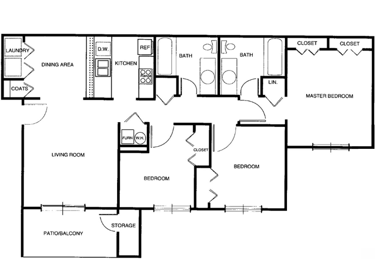 2 Bedrooms 2 Bathrooms Apartment for rent at Hanna Village Apartments in Indianapolis, IN