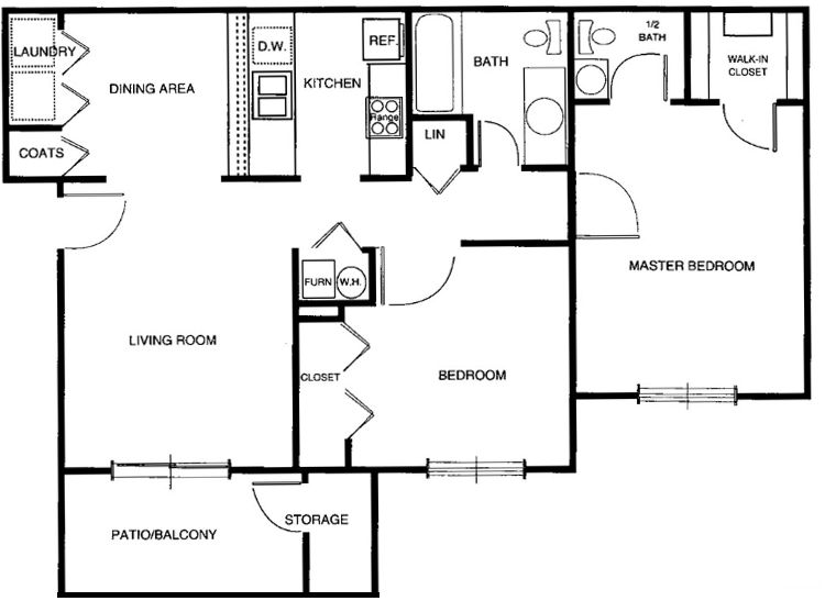 3 Bedrooms 2 Bathrooms Apartment for rent at Hanna Village Apartments in Indianapolis, IN